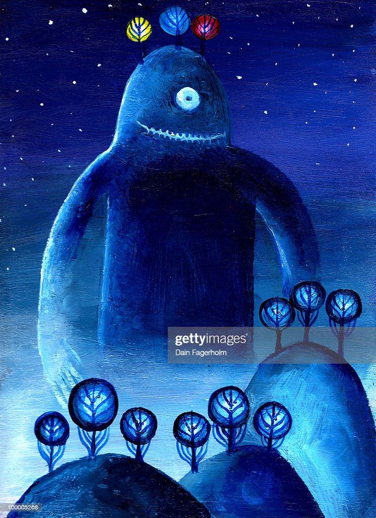 Mystery Planet Alien Monster : Stock Illustration