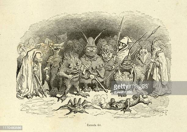 mythical monsters, goblins and beasts. orlando furioso - woodcut stock illustrations, clip art, cartoons, & icons