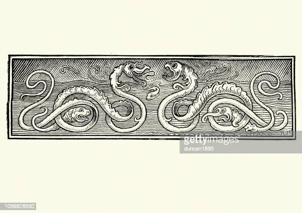 stockillustraties, clipart, cartoons en iconen met mythologie, sea serpents, monsters, 19e-eeuwse houtsnede - monster fictional character