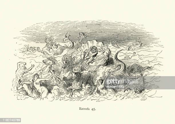 mythology, the god neptune riding in his chariot - greek mythology stock illustrations