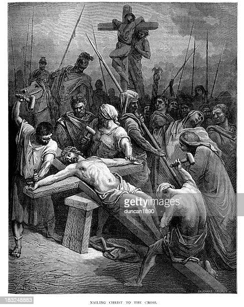 nailing christ to the cross - gustave dore stock illustrations, clip art, cartoons, & icons