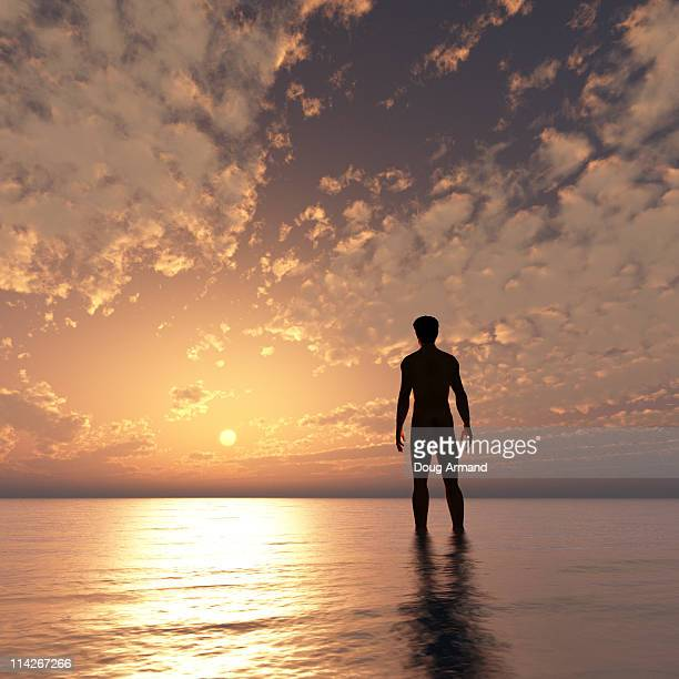 Naked male facing sunset