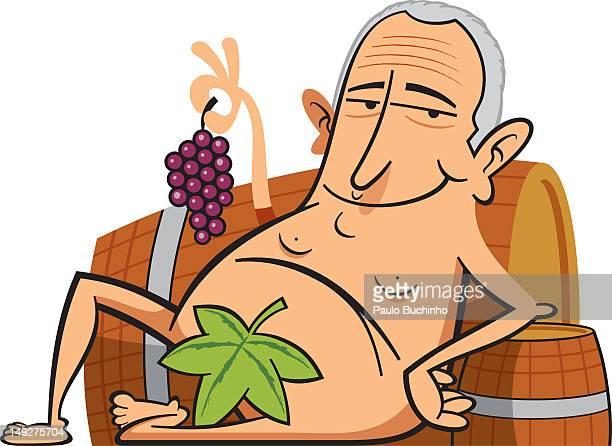 ilustrações de stock, clip art, desenhos animados e ícones de a naked manholding grapes and sitting with a leaf to cover himself - buchinho