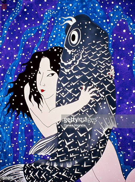 naked woman & fish - only japanese stock illustrations, clip art, cartoons, & icons