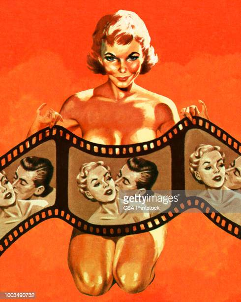 illustrazioni stock, clip art, cartoni animati e icone di tendenza di naked woman holding a filmstrip - donna nuda