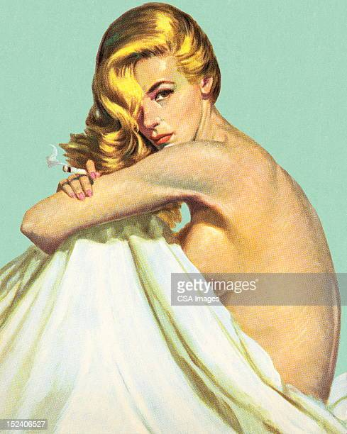 naked woman with sheet - blanket stock illustrations, clip art, cartoons, & icons