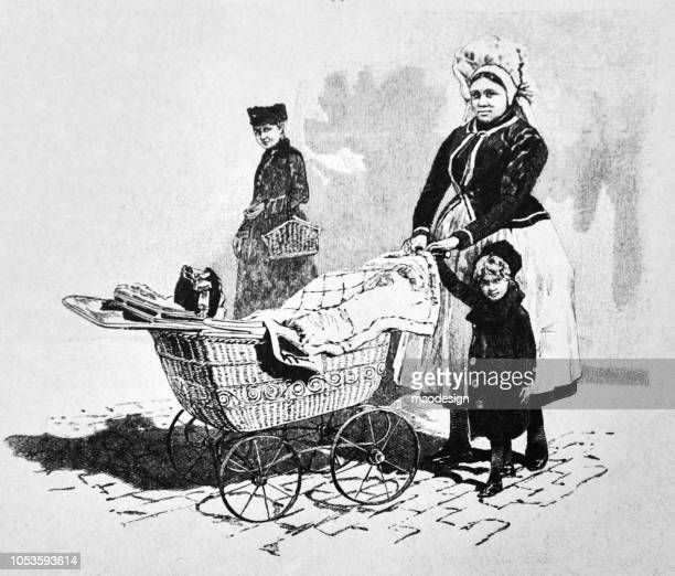 nanny with a baby buggy and small child - 1888 - baby carriage stock illustrations