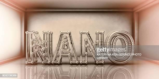 nano words inside futuristic room, nanotechnology concept - nanoparticle stock illustrations, clip art, cartoons, & icons