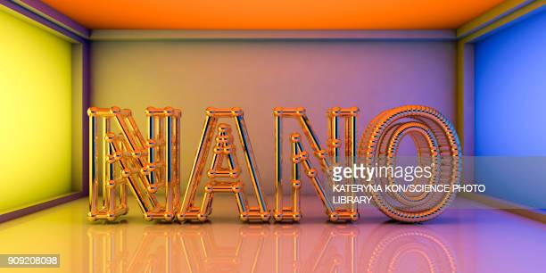 nano words inside futuristic room, nanotechnology concept - nanotechnology stock illustrations