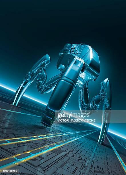 nanorobot, conceptual artwork - nanotechnology stock illustrations