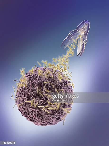 nanotechnology probe attacking a cancer cell - tumour stock illustrations