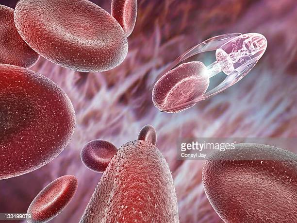 nanotechnology probe treating red blood cells - technology stock illustrations
