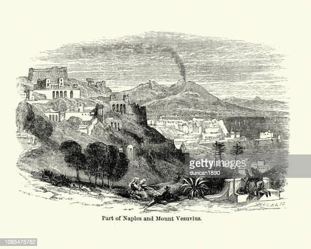 naples and mount vesuvius, 19th century - mt vesuvius stock illustrations, clip art, cartoons, & icons