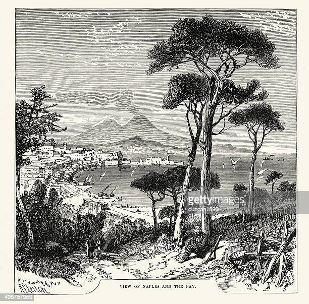 naples and the bay 19th century - naples italy stock illustrations