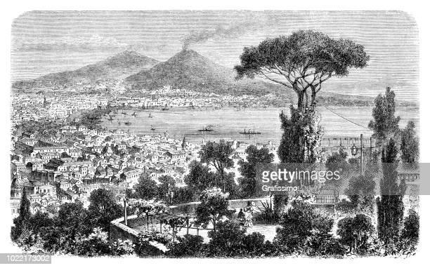 naples italy in the gulf of naples with mount vesuvius 1876 - mt vesuvius stock illustrations, clip art, cartoons, & icons