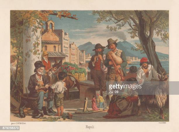 naples, italy, lithograph, published in 1883 - naples italy stock illustrations