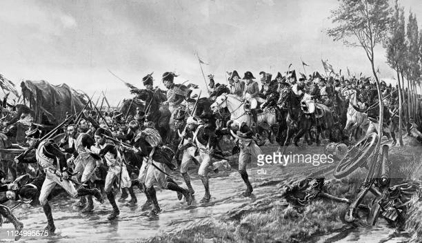 napoleon after the battle of waterloo - waterloo belgium stock illustrations