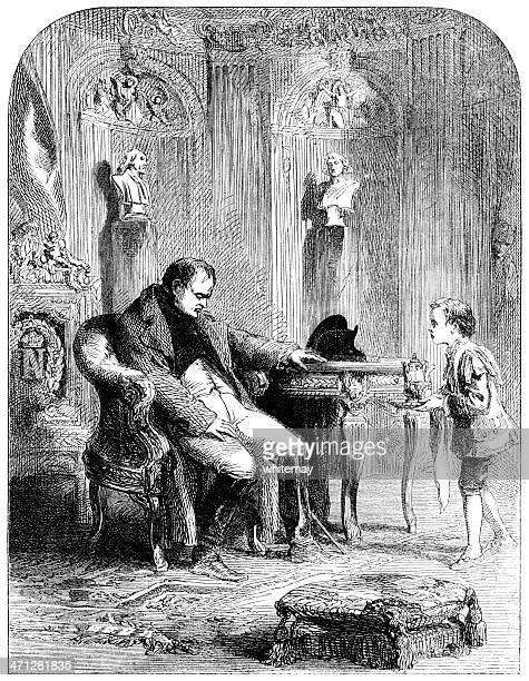 napoleon and his serving boy - bad posture stock illustrations, clip art, cartoons, & icons