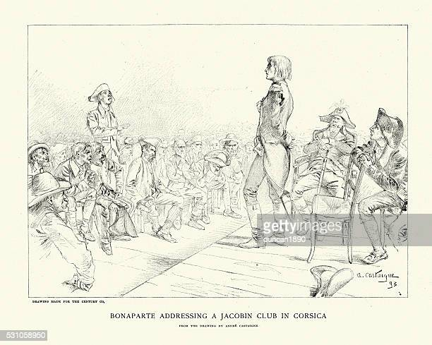 napoleon bonaparte addressing a jacobin club in corsica - corsica stock illustrations, clip art, cartoons, & icons