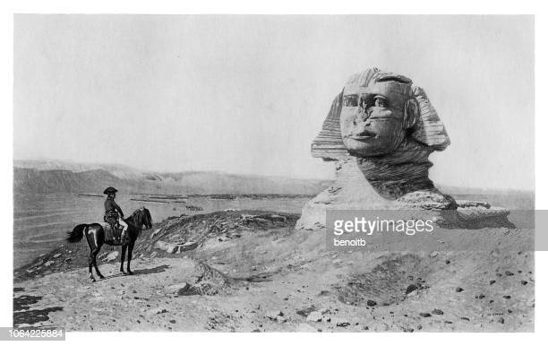 napoleon bonaparte at the great sphinx of giza - the sphinx stock illustrations, clip art, cartoons, & icons