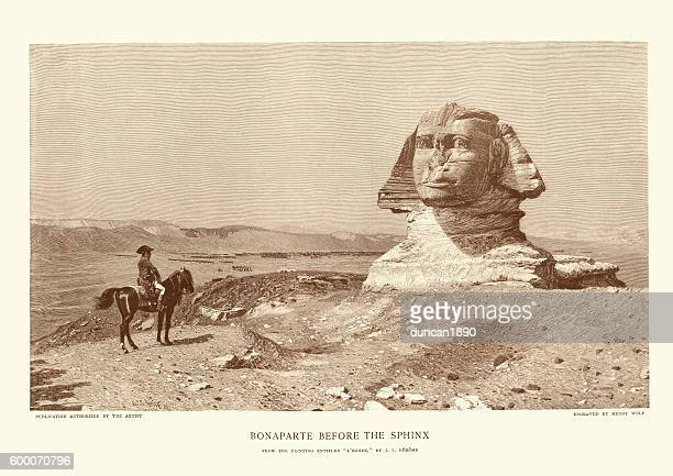 napoleon bonaparte before the sphinx - the sphinx stock illustrations, clip art, cartoons, & icons