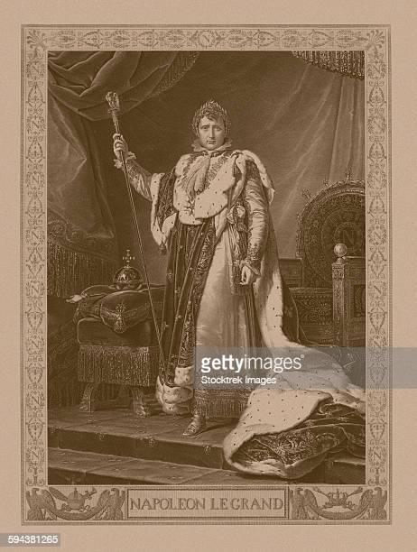 napoleon bonaparte in his coronation costume, sitting on his imperial throne. - corona zon stock illustrations