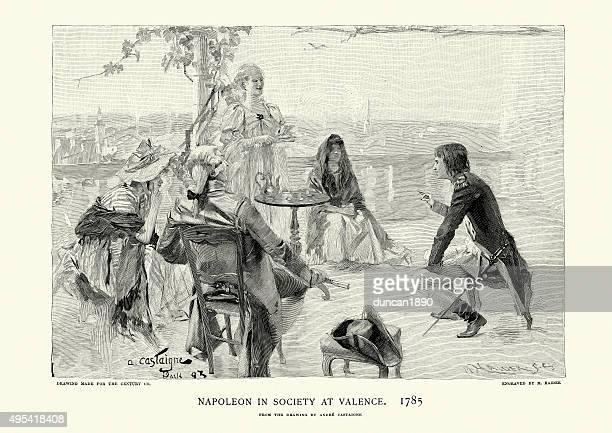 ilustrações, clipart, desenhos animados e ícones de napoleão bonaparte em sociedade em valence, 1785 - valencia spain