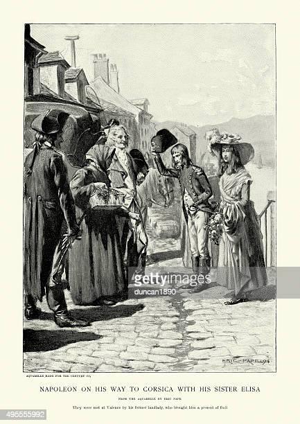 napoleon bonaparte on his way to corsica with sister elisa - comunidad autonoma de valencia stock illustrations