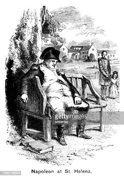 napoleon bonaparte on st helena - military uniform stock illustrations