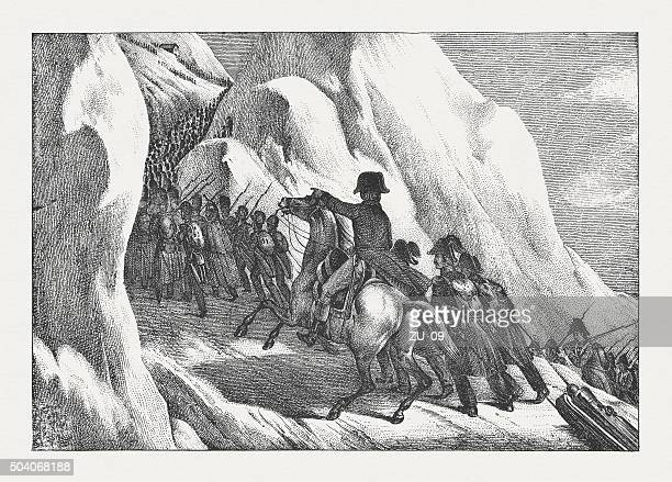illustrations, cliparts, dessins animés et icônes de napoléon de la traversée des alpes (peuvent 1800), la lithographie, publié en 1840 - guerres napoléoniennes