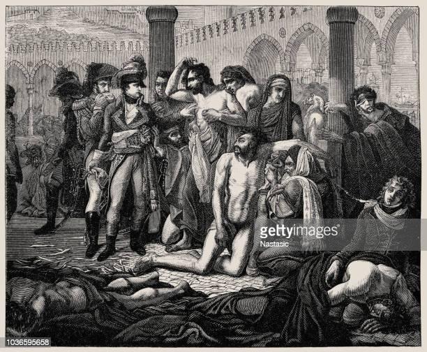 stockillustraties, clipart, cartoons en iconen met napoleon in de pest-huis bij jaffa uit het schilderij door antoine-jean gros - epidemic