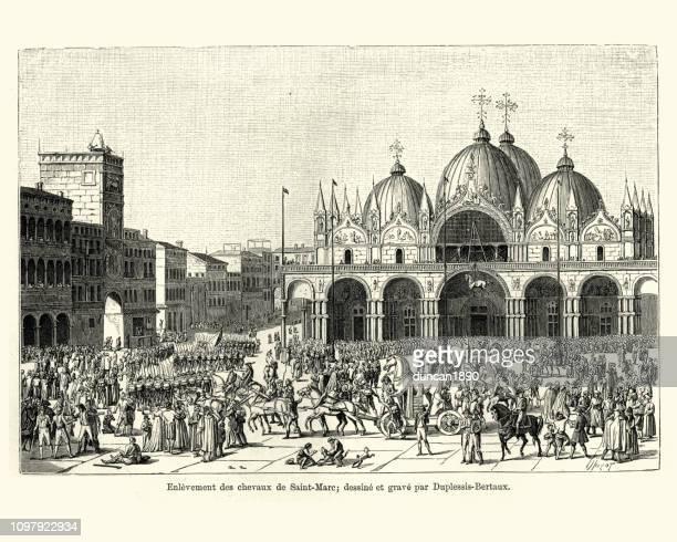 illustrazioni stock, clip art, cartoni animati e icone di tendenza di napoleone saccheggia cavalli di san marco, venezia, 1797 - napoleone