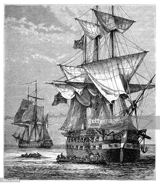 napoleon's embarkation on the northumberland - northumberland stock illustrations, clip art, cartoons, & icons