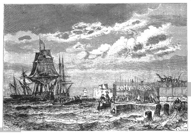 napoleon's landing in the bay of san juan at cannes. - cannes stock illustrations, clip art, cartoons, & icons