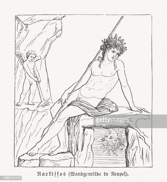 narcissus (greek mythology), roman mural, pompeii, wood engraving, published 1897 - narcissus mythological character stock illustrations, clip art, cartoons, & icons