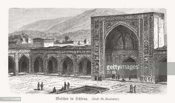 nasir-ol-molk mosque in shiraz, iran, wood engraving, published in 1897 - shiraz stock illustrations