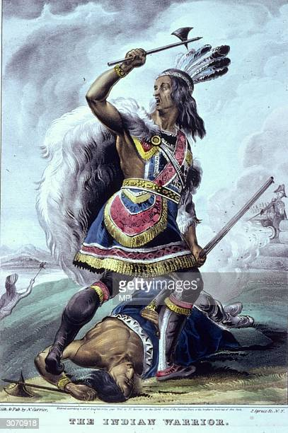 Native American brave stands over the corpse of his fallen enemy and raises a cry of victory Original Artwork Lithograph by Nathaniel Currier