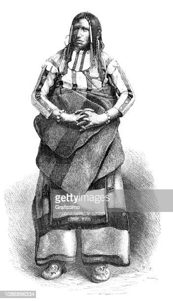 native american chief man of tribe ute 1874 - indian costume stock illustrations, clip art, cartoons, & icons