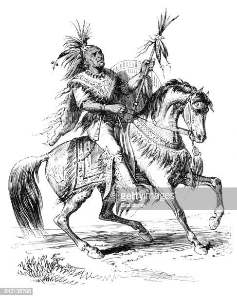 native american chief riding horse 1863 - indigenous north american culture stock illustrations, clip art, cartoons, & icons