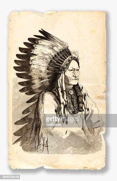 native american chief sitting bull engraving 1882 - apache culture stock illustrations, clip art, cartoons, & icons