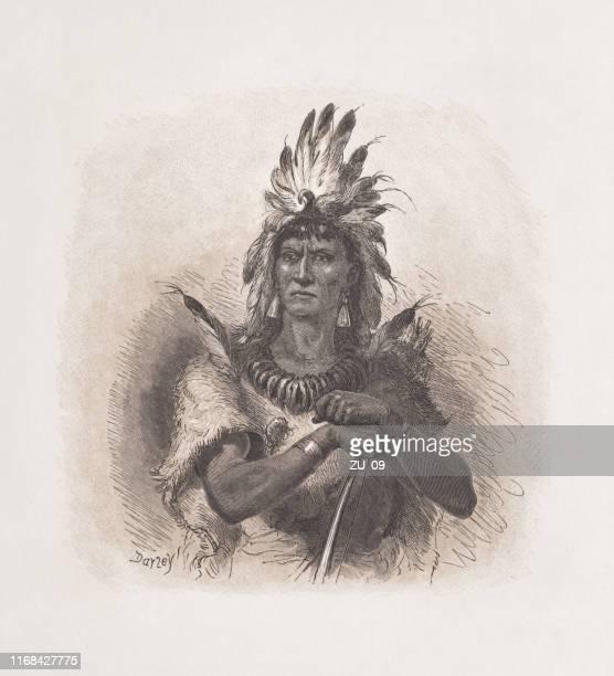 ネイティブアメリカンのチーフ、木彫り、1876年に出版 - 酋長点のイラスト素材/クリップアート素材/マンガ素材/アイコン素材
