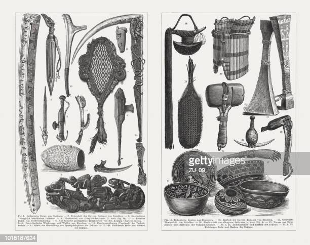 native american culture objects, wood engravings, published in 1897 - hatchet stock illustrations, clip art, cartoons, & icons