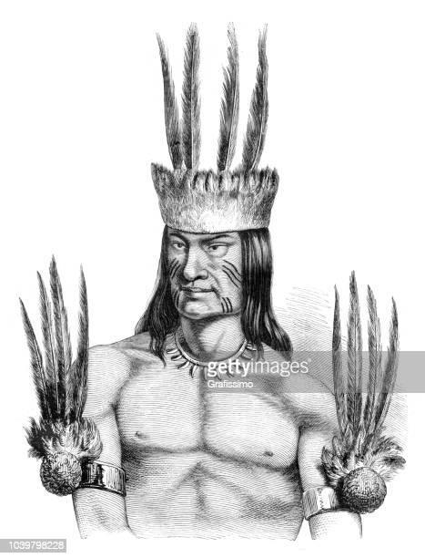 ilustrações, clipart, desenhos animados e ícones de nativo americano da tribo tikúna na região do amazonas no brasil - índia