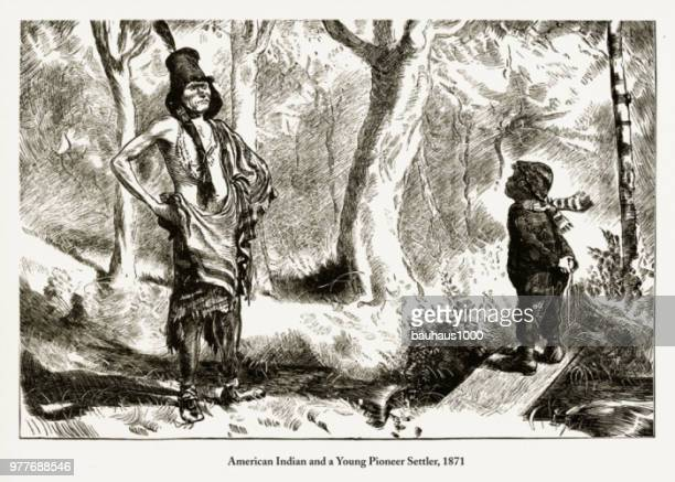 native american indian and a young pioneer settler engraving, 1871 - apache culture stock illustrations, clip art, cartoons, & icons