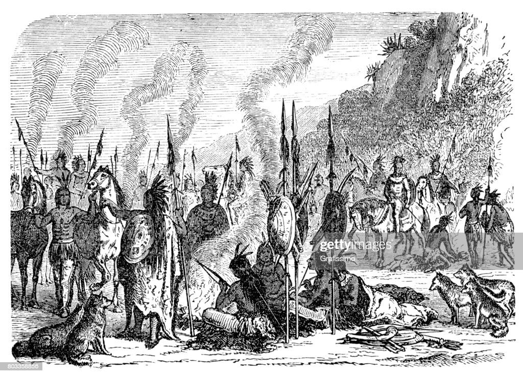 Native american indian camp 1870 : stock illustration