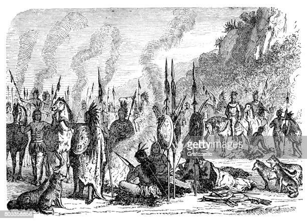 native american indian camp 1870 - shoshone national forest stock illustrations, clip art, cartoons, & icons