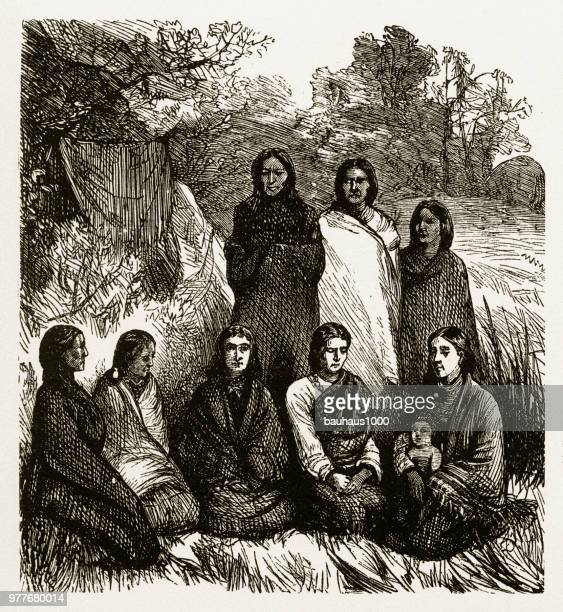 native american indian women imprisoned by u.s. army engraving, 1878 - apache culture stock illustrations, clip art, cartoons, & icons