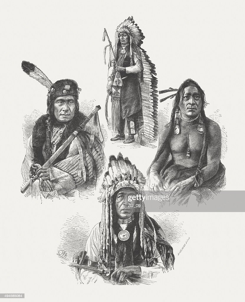 Native American leaders, after photographs by Alexander Gardner, published 1874 : stock illustration