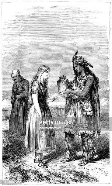 Native American Man Giving Pottery to a Woman - 19th Century