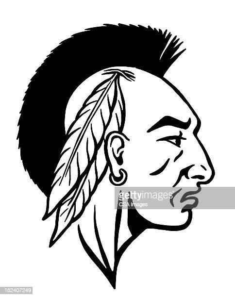 native american man - mohawk stock illustrations